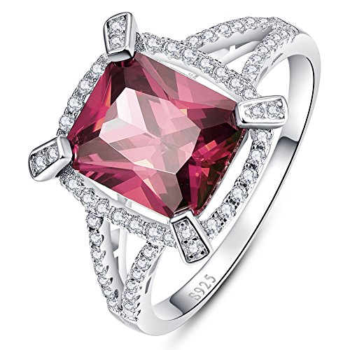 BONLAVIE Brilliant Sparkle Garnet Solitaire Ring Solid 925 Sterling Silver Size 6