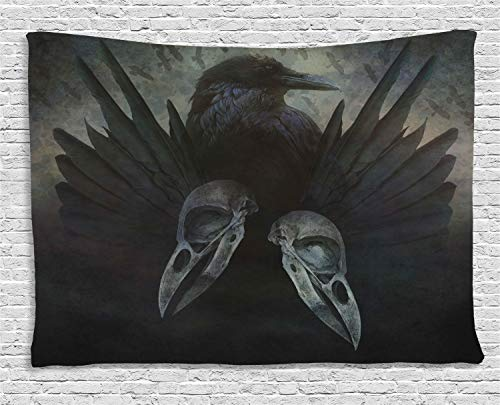 Ambesonne Gothic Decor Collection, Crow Spirit Wings Haunting Magic Mysticism Dark Shadowy Occult Art Print, Bedroom Living Room Dorm Wall Hanging Tapestry, 60W X 40L Inch