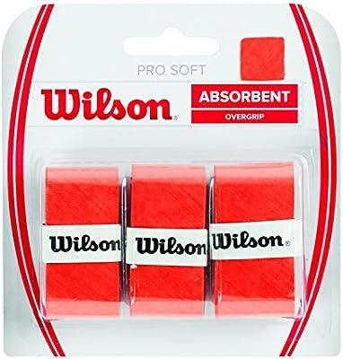 Wilson Pro Soft Overgrip Empuñadura, 3 unidades, unisex, rojo ...