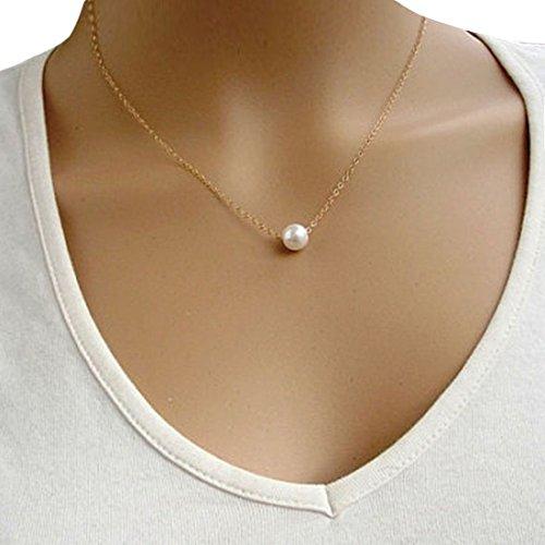 Bolayu Women Fashion Simple Imitate Pearl Choker Bib Statement Collar Necklace Gold