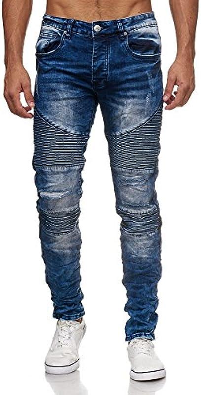Megastyl spodnie jeansowe dla motocyklistÓw, męskie, stretch, denim, slim fit, pikowany wzÓr: Odzież