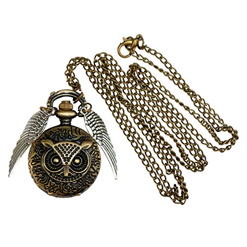 Legendary OWL Style Flying ball necklace Steampunk pocket watch silver wings