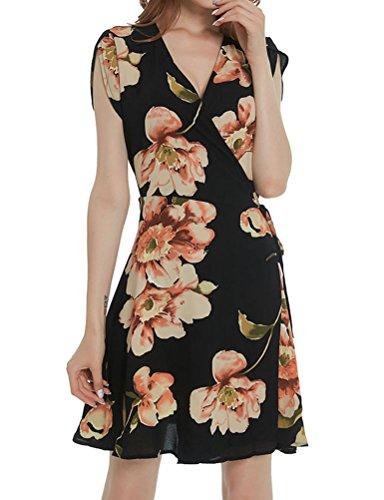 ZXZY Women Boho Floral Print Short Sleeve V Neck Tied Wrap Dress (Dress Short Sleeve Wrap Print)