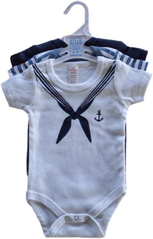 Baby Boys Bodysuit Set Age 0 3 Months 3 Pack Vests Nautical Sailor Blue