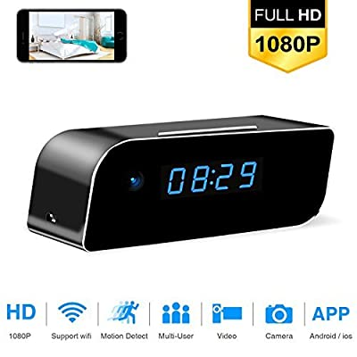 Hidden Camera Clock Mini HD Spy 1080p WiFi Night Vision Remote View Motion Detection Home Security CAM4 by MIIGA