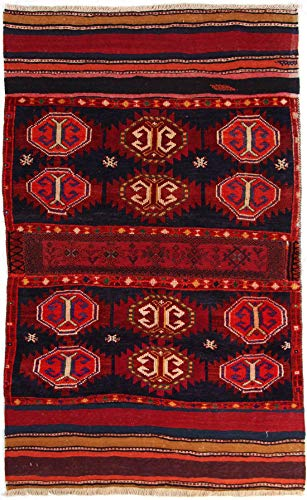 RugInRoll Turkish Hand-Knotted Camel Bag Pattern, Geometric Design, Wool on Wool, Antique, Handmade Area Rug, (4' 0