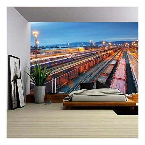 (wall26 - Stock Photo - Cargo Train Trasportation - Freight Railway - Removable Wall Mural   Self-Adhesive Large Wallpaper - 100x144 inches )