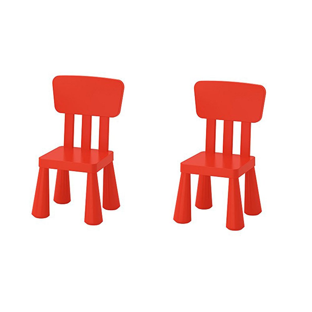 Ikea Mammut Kids Indoor / Outdoor Children's Chair, Red Color - 2 Pack by IKEA