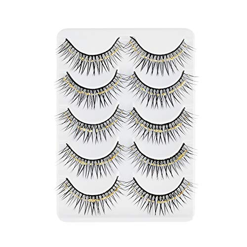 Beautyflier 5 Pairs Crisscross Messy Thick False Eyelashes Crystal Eye Lash Stage Latin Makeup Fake Eyelashes