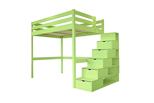 ABC MEUBLES - Cama Alta Sylvia con Escalera Cubo - Cube - Verde Pastel, 120x200: Amazon.es: Hogar