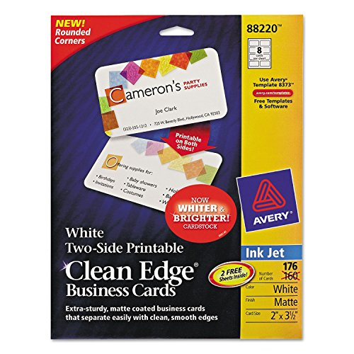 Clean Edge Inkjet Business Cards, White, Round Edge, 2 x 3 1/2, 160 cards/PK (Round Edge Business Cards compare prices)