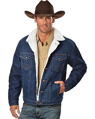 Wrangler Men's Sherpa Lined Denim Jacket, Denim/Sherpa, Small Lined Barn Jacket
