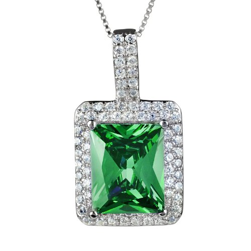 West Coast Jewelry   ELYA Sterling Silver Radiant-Cut Cubic Zirconia Double Halo Pendant Necklace