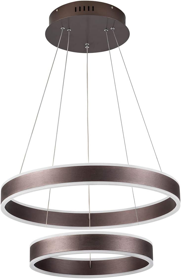 Modern Foyer Pendant Light LED Dimmable Circular Chandelier 2-Ring 74W 4440lm Adjustable Hanging Ceiling Light for Living Room Foyer Hallway Bar Kitchen Island, 4000K Nature White, Brown