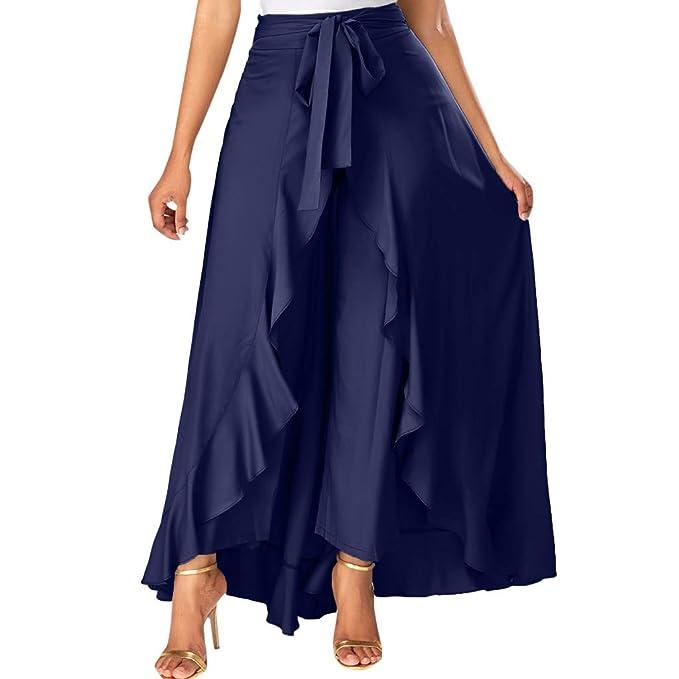 Conquro Pantalón Casual de Mujer Hoja de Loto Irregular Arco ...