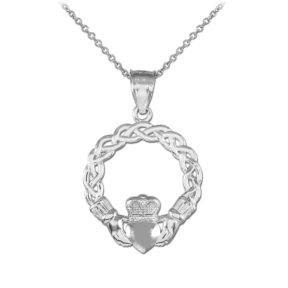 925 Sterling Silver Classic Braided Claddagh Charm Pendant Necklace