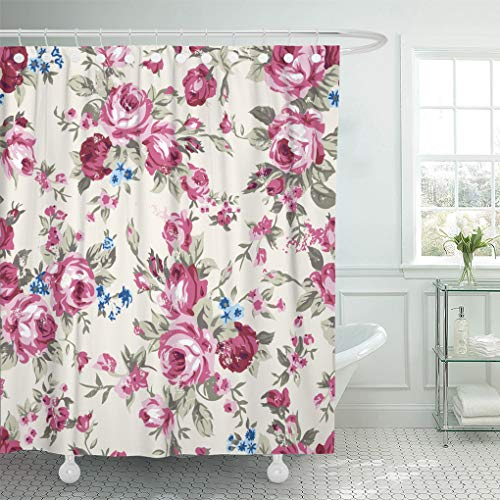 Emvency Shower Curtain Colorful Abstract Shabby Chic Granny Vintage Chintz Roses Shower Curtains Sets with Hooks 72 x 78 Inches Waterproof Polyester ()