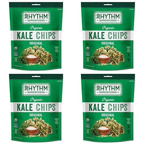 Rhythm Superfoods Kale Chips, Original, Organic and Non-GMO, 2 Oz (Pack of 4), Vegan/Gluten-Free Superfood Snacks