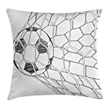 Ambesonne Sports Decor Throw Pillow Cushion Cover, Soccer Ball in Net Goal Position Sports Competition Hand Drawn Style Print, Decorative Square Accent Pillow Case, 18 X18 Inches, Black White