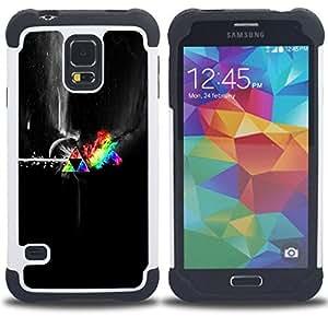 """SAMSUNG Galaxy S5 V / i9600 / SM-G900 - 3 en 1 impreso colorido de Altas Prestaciones PC Funda chaqueta Negro cubierta gel silicona suave (Colores espacio abstracto"""")"""