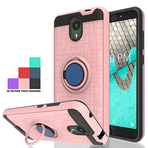 Wtiaw for:Wiko Ride Case,Wiko Ride Phone Cases (Boost Mobile),360 Degree Rotating Ring Kickstand [TPU+PC Material] Hybrid Dual Layer Defender Case for Wiko Ride-CH Rose Gold (Boost Mobile Cases)