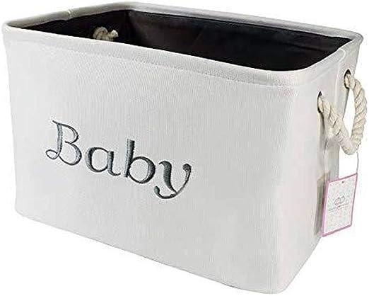 Blanco Lona Caja Almacenaje, Gris Bordado Compartimientos Almacenaje Decoración para Bebé Niños O Mascotas - Cesta (Libros): Amazon.es: Hogar