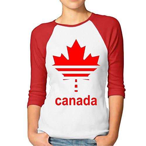 HOTOU Women's Canada Maple 3/4 Sleeve Baseball Tee Red