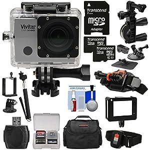 Vivitar DVR914HD 1440p HD Wi-Fi Waterproof Action Video Camera Camcorder (Silver) + Remote, Helmet, Bike, Suction Cup + Dashboard Mounts + 64GB + Case Kit