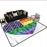 Pride,Kitchen Mat for Living Room 24'x 36' Heart Gay Flag Rainbow Art Printed Carpet