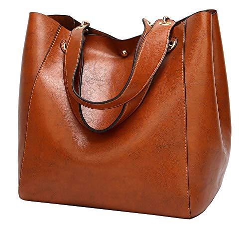 Molodo Womens Satchel Hobo Top Handle Tote Leather Handbag Designer Shoulder Purse Bucket Crossbody Bag(Brown1) ()
