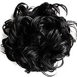 PRETTYSHOP XXXL Hairpiece Hair Wrap Scrunchie Scrunchy Updos, VOLUMINOUS, Curly Messy Bun, Balck # 1B HW6