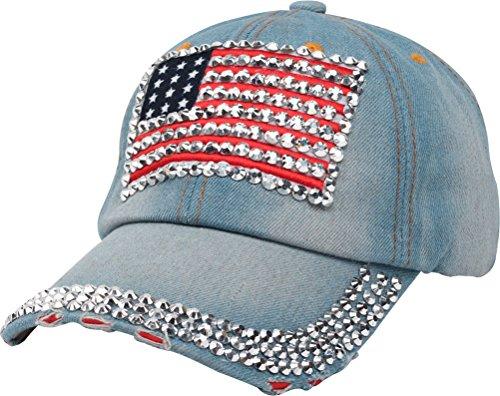 (Bienvenu American Flag Rhinestone Jeans Denim Baseball Adjustable Baseball Cap Hat,Light Blue)