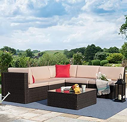 Amazon Com Tuoze 6 Pieces Patio Furniture Sectional Set Outdoor All Weather Pe Rattan Wicker Lawn Conversation Sets Cushioned Garden Sofa Set With Glass Coffee Table Beige Industrial Scientific