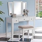 1PerfectChoice Tri Folding Mirror Vanity Makeup Dresser Table Stool Bench Set 3 Drawers White