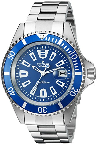 Croton Mens Quartz Watch - CROTON Men's CA301282BUBL Analog Display Quartz Silver Watch