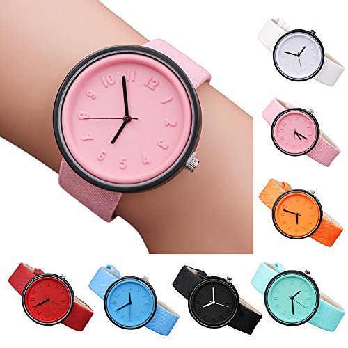 Charberry Unisex Simple Number Watches Quartz Canvas Belt Wrist Watch Red by Charberry (Image #2)