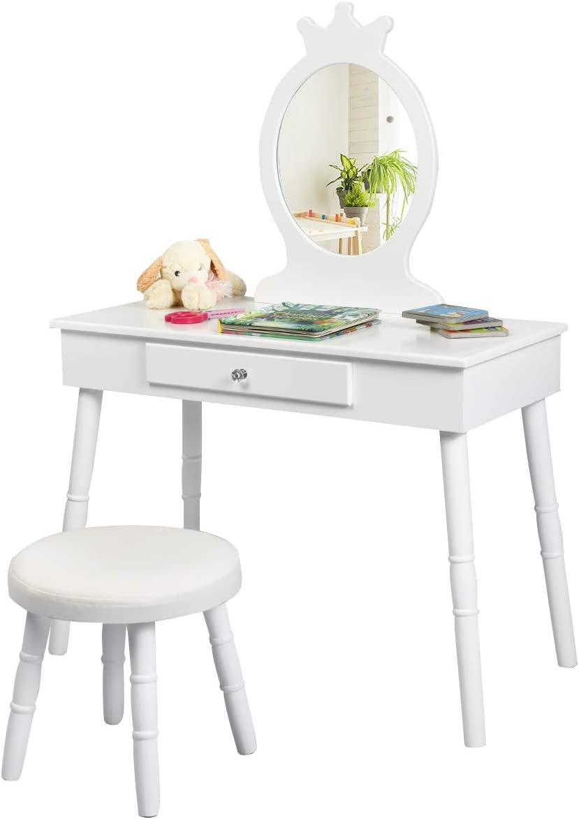 HONEY JOY Kids Vanity Table Set, Princess Wooden Dressing Table and Chair Vanity Set, Little Girls Pretend Beauty Makeup Playset w/Crown Mirror & Cushioned Stool, Children's Bedroom Furniture (White)