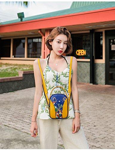 imprimé dos mode Messenger à Mini fonction à à multi Bag Yellow à bandoulière sac main la sac sac de trois des usages bandoulière épaule femmes sac à 81qEPw