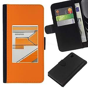 EJOY---La carpeta del tirón la caja de cuero de alta calidad de la PU Caso protector / Sony Xperia Z1 L39 / --Naranja Edificio abstracto minimalista Patrón