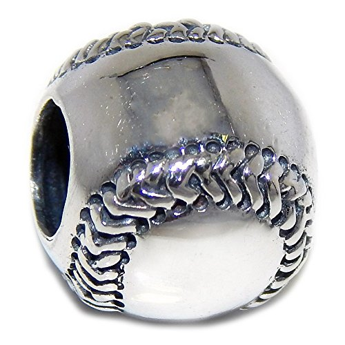 Pro Jewelry 925 Solid Sterling Silver Baseball Charm Bead