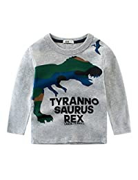 CM-Light Toddler Boys Long Sleeve Shirt Animal Kids Grey Outfit Warm Clothes