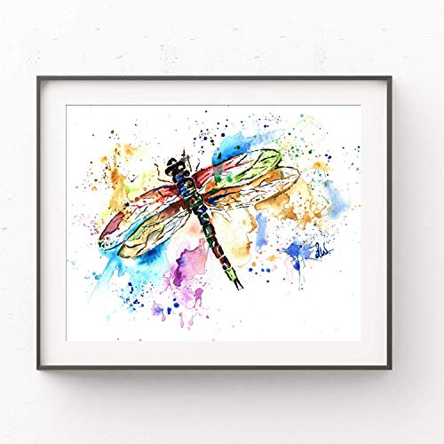 Dragonfly Wall Art by Whitehouse Art | Dragon Fly, Dragonfly Gifts, Wall Art for Bedroom, Nursery Decor | Professional Artwork of Dragonfly Original Watercolor Painting | Baby Shower Gifts