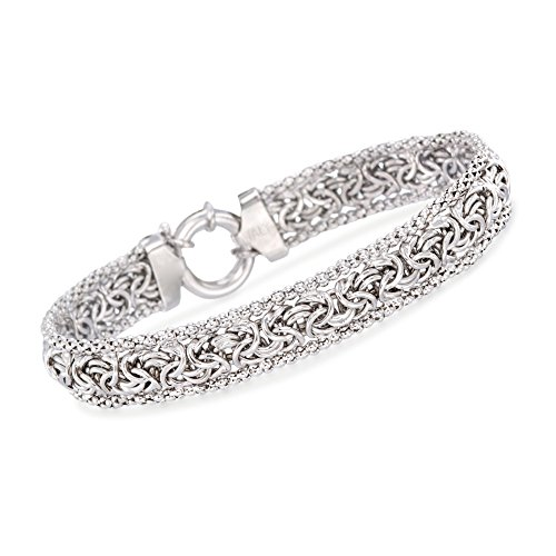 Ross-Simons Sterling Silver Narrow Beaded Byzantine Bracelet -