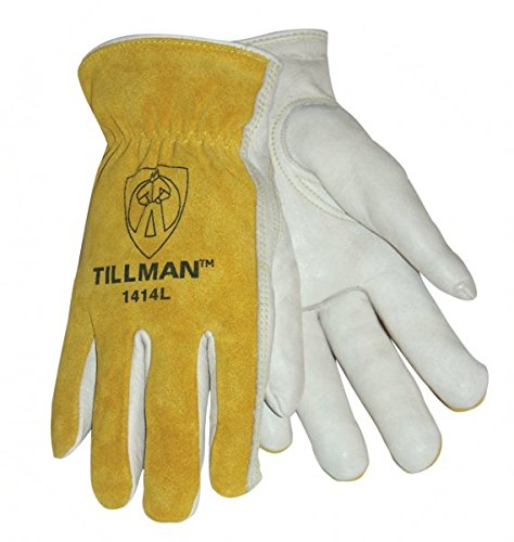 Tillman 1414M 1414 Unlined Cowhide Leather Drivers Glove, Cowhide Leather, Medium, White/Yellow (12 Pairs)