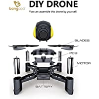 bangcool DIY Drone, 2.4Ghz LED RC Drone Wifi Quadcopter Mini Pocket Racing Drone with Headless Mode & Altitude Hold(No Camera Included)