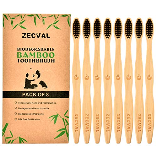 Zecval Biodegradable Natural Bamboo Toothbrushes (Pack of 8), BPA Free Soft Bristles, Biodegradable, Compostable, Eco Friendly