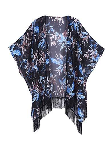 (Women's Floral Kimono Cover Up - Lightweight Leopard Chiffon Beachwear for Bikini,Cardigan and Swimwear(One Size,Black))