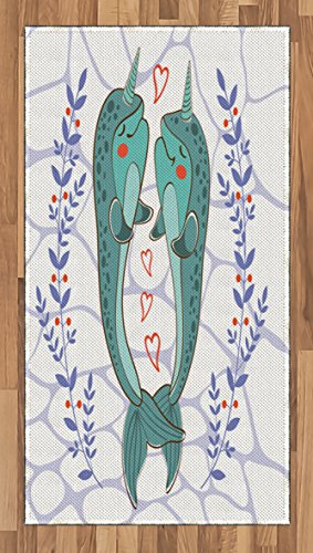 Narwhal Area Rug by Ambesonne, Valenties Day Themed Illustration with Colorful Whales in Love Aquatic Adoration, Flat Woven Accent Rug for Living Room Bedroom Dining Room, 2.6 x 5 FT, - Day Valenties Ideas
