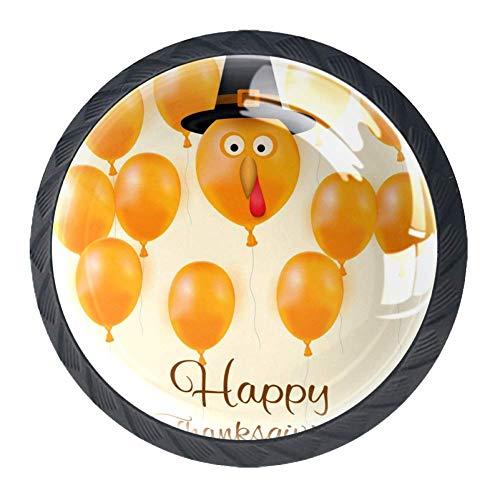 (4 Pcs Happy Thanksgiving Turkey Balloon Crystal Class Cabinet Knobs 35mm Circle Shape Drawer Kitchen Cabinets Dresser Cupboard Wardrobe Pulls Handles)