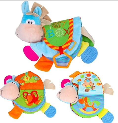 Tery Baby Toddler Toys Giocattoli per bambini Little Asino Animal Cloth Book Teether Puzzle, 1 Year & Toddler, Touch and Feel Activity.